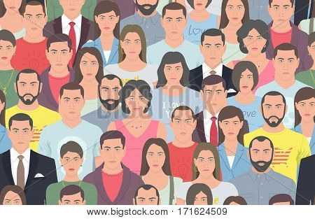 The crowd of people in flat style. Seamless background