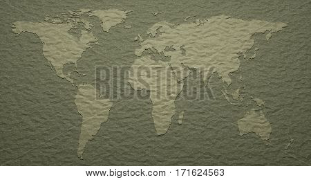 3D illustration. World map with polygonal embossed details.