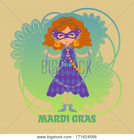 Vector girl in a mask with beads on Mardi gras celebration. Masquerade. Mask with feathers and gold earrings