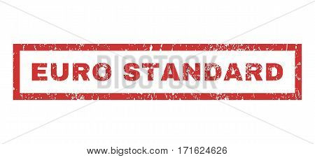 Euro Standard text rubber seal stamp watermark. Tag inside rectangular banner with grunge design and dust texture. Horizontal vector red ink sticker on a white background.