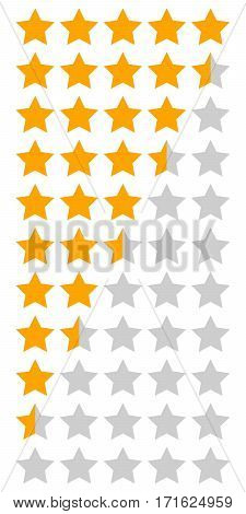yellow orange 5 star rating infographic icons set, vector Star rating system for the chart or design games