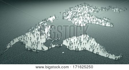 3D illustration. Paper people around the world concept of population demography aging migrations birth mortality business and tourism.