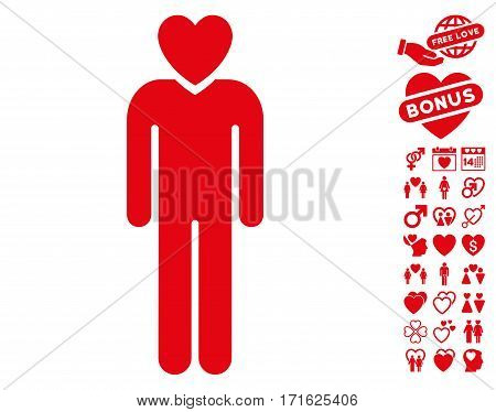 Lover Man pictograph with bonus dating pictograph collection. Vector illustration style is flat iconic red symbols on white background.