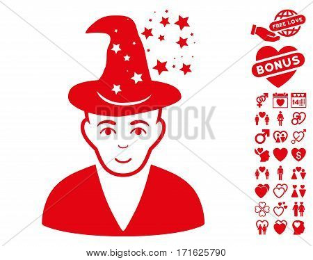 Magic Master icon with bonus decoration images. Vector illustration style is flat iconic red symbols on white background.