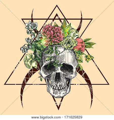 Beautiful hand drawn illustration boho flowers, skull, arrows. Us for card, poster, print for t-shirt, smart phone, handbag, music CD.
