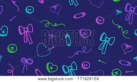 sewing elements, vector seamless pattern, neon colors