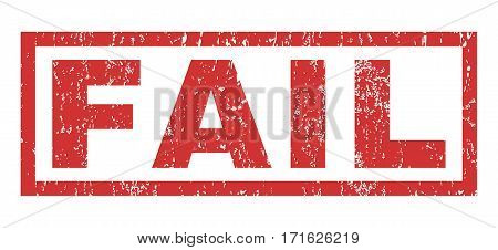 Fail text rubber seal stamp watermark. Tag inside rectangular banner with grunge design and unclean texture. Horizontal vector red ink emblem on a white background.