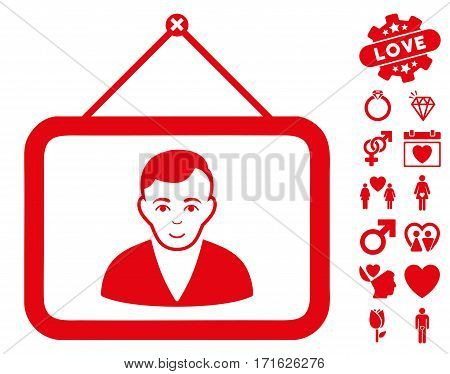 Man Portrait pictograph with bonus valentine pictograph collection. Vector illustration style is flat iconic red symbols on white background.