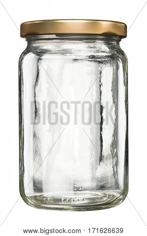 Closed empty glass jar with metal lid isolated on white
