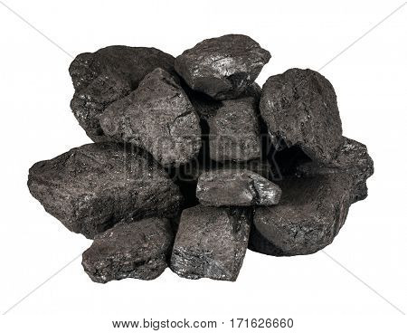 Pile of black coal isolated on white