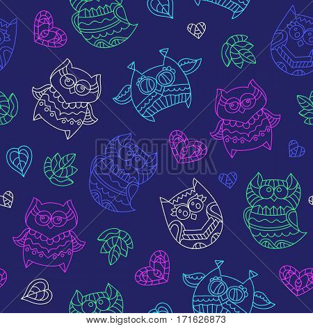 vector seamless pattern of neon ornamental owls on dark background