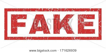 Fake text rubber seal stamp watermark. Tag inside rectangular shape with grunge design and scratched texture. Horizontal vector red ink sign on a white background.