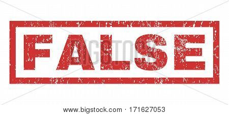 False text rubber seal stamp watermark. Tag inside rectangular shape with grunge design and dirty texture. Horizontal vector red ink emblem on a white background.