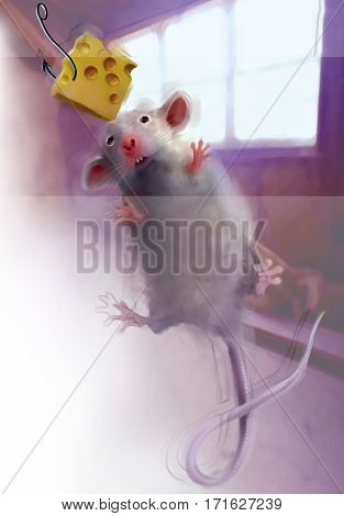 Digital illustration of a rat trying to grab a slice of cheese