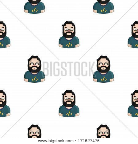 Programmer icon in cartoon style isolated on white background. People of different profession pattern vector illustration.
