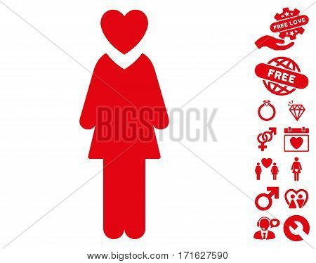 Mistress icon with bonus dating pictograms. Vector illustration style is flat iconic red symbols on white background.