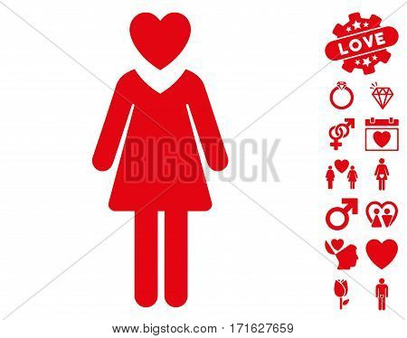 Mistress pictograph with bonus valentine icon set. Vector illustration style is flat iconic red symbols on white background.