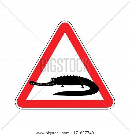 Attention Crocodile. Alligator On Red Triangle. Road Sign Caution Predator Reptile