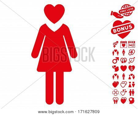 Mistress icon with bonus dating images. Vector illustration style is flat iconic red symbols on white background.