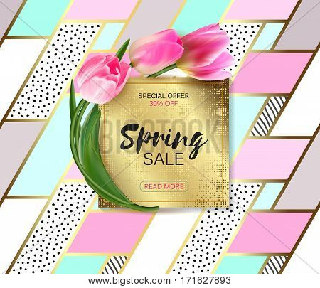 Spring sale background with realistic vector tulips. Template for banners, flyers, invitation, voucher, discount, posters, brochure. Golden plate on trendy colors patchwork background. Not trace.