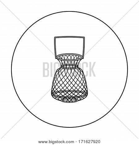 Fishing net icon in outline design isolated on white background. Fishing symbol stock vector illustration.