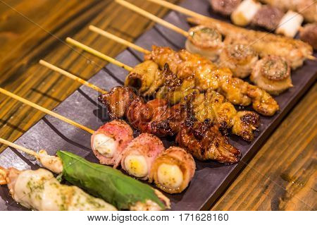 Various Kind Of Traditional Japanese Bbq Grilled Chiken - Yakitori.