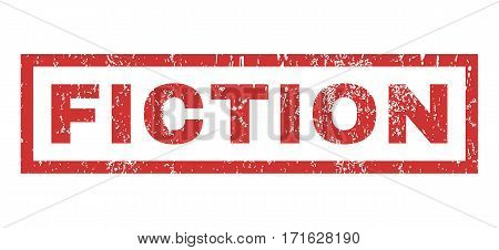 Fiction text rubber seal stamp watermark. Tag inside rectangular banner with grunge design and scratched texture. Horizontal vector red ink sticker on a white background.
