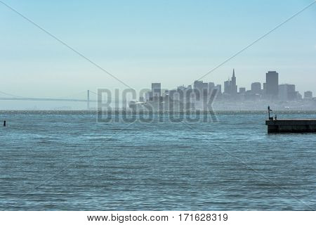 Skyline of San Francisco view from Tiburon, California