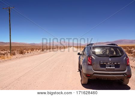 Salinas Grandes Argentina - November 2 2016: Car Renault Duster on Ruta ex 40 in Jujuy province from Salinas Grandes to San Antonio Los Cobres