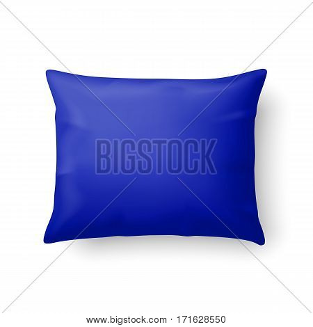 Close Up of a Classic Blue Pillow Isolated on White Background