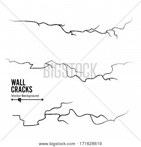 Wall Cracks Vector. Isolated On White Background.