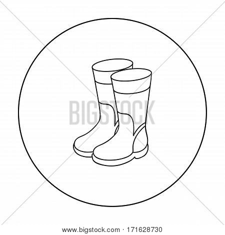 Rubber boots icon in outline design isolated on white background. Fishing symbol stock vector illustration.