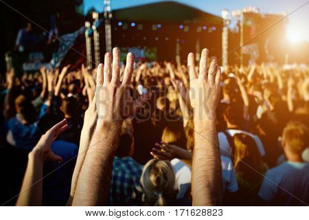 Hands Of Happy People Crowd Having Fun At Summer Live Rock Fest