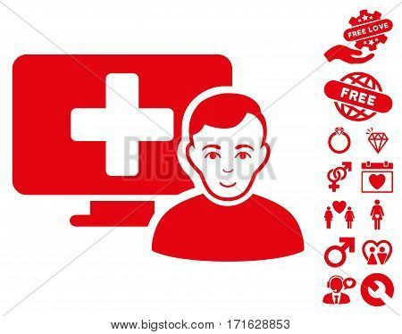 Online Medicine icon with bonus dating images. Vector illustration style is flat iconic red symbols on white background.