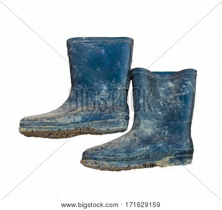 Rubber boots for construction on white background
