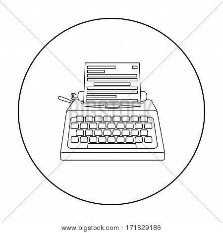Typewriter icon in outline style isolated on white background. Films and cinema symbol vector illustration.
