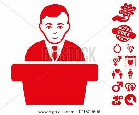 Politician icon with bonus romantic clip art. Vector illustration style is flat iconic red symbols on white background.