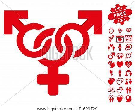 Polyandry icon with bonus lovely design elements. Vector illustration style is flat iconic red symbols on white background.