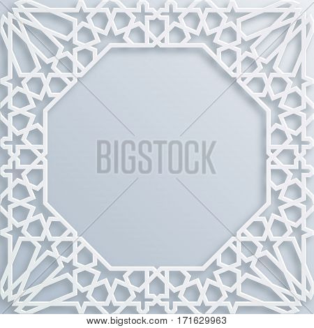 Vector muslim mosaic persian motif. Mosque decoration element. Islamic geometric pattern. Elegant white oriental ornament traditional arabic art. Illustration for brochures greeting cards