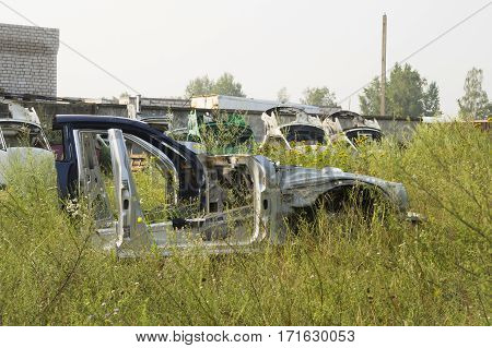 skeleton of an old car, prepared for recycling