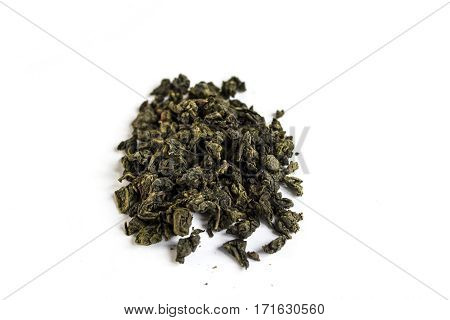 Milk oolong green tea isolated on white background