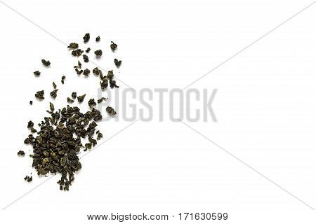 Oolong green tea isolated on white background