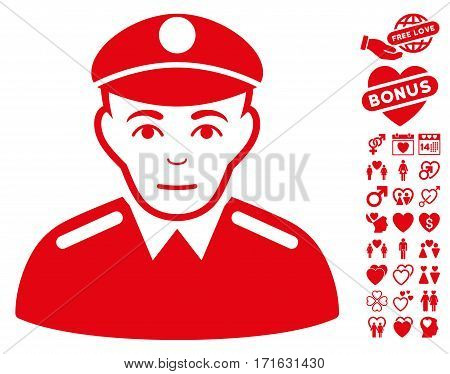 Soldier pictograph with bonus decorative design elements. Vector illustration style is flat iconic red symbols on white background.