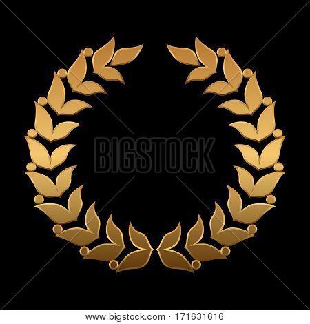 Vector gold award wreaths, laurel on black background. Vector illustration