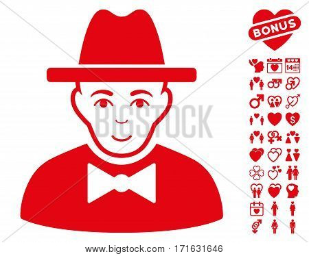 Spy icon with bonus dating design elements. Vector illustration style is flat iconic red symbols on white background.