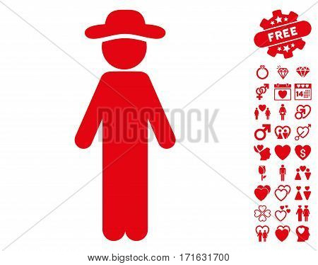 Standing Gentleman icon with bonus romantic pictograms. Vector illustration style is flat iconic red symbols on white background.