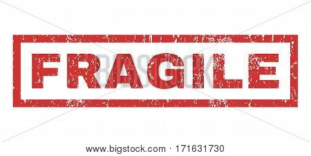 Fragile text rubber seal stamp watermark. Tag inside rectangular banner with grunge design and unclean texture. Horizontal vector red ink emblem on a white background.