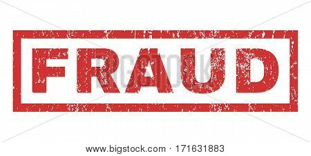 Fraud text rubber seal stamp watermark. Tag inside rectangular banner with grunge design and unclean texture. Horizontal vector red ink sign on a white background.