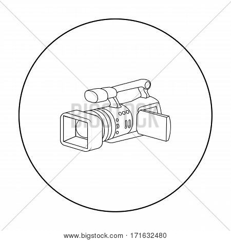 Camcorder icon in outline style isolated on white background. Event service symbol vector illustration.