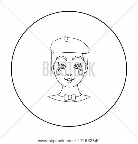 Mime artist icon in outline style isolated on white background. Event service symbol vector illustration.